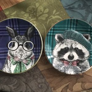 Rabbit and Raccoon plaid plates!